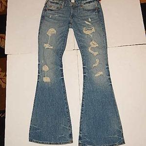 True RELIGION Karlie Flare Destroyed Jeans Size 27